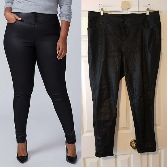 142bd4bd301 Lane Bryant Pants - High-Rise Super Stretch Skinny Jean - Coated Black